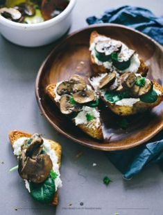 mushrooms and goats cheese on toast