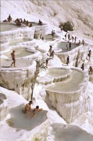 Natural rock pools in Pamukkale, Turkey
